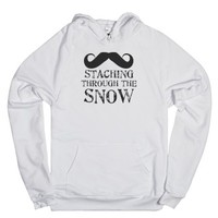 Staching Through The Snow Hoodie-Unisex White Hoodie