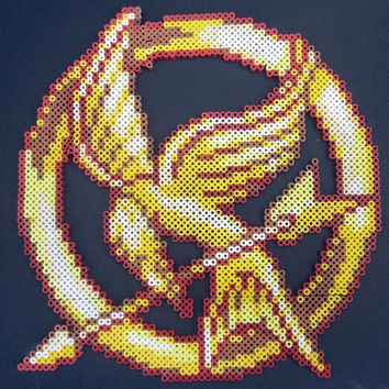Large Hunger Games Inspired Mockingjay Perler Bead Sprite Mounted on Black Foam Board