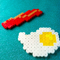 Bacon and Eggs Magnet Set: Perler Bead Breakfast Fridge Magnet