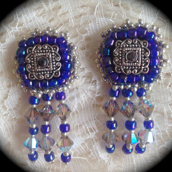 Beaded Earrings, Blue And Silver, Vintage style, Crystal Dangles,Pierced