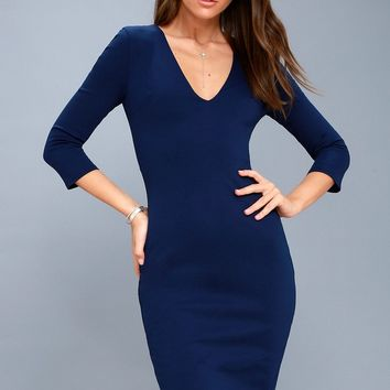 Style and Slay Navy Blue Bodycon Midi Dress