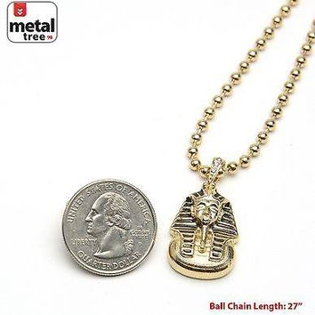 "Jewelry Kay style Men's Iced Out Egyptian Pharaoh Pendant 3 mm 27"" Ball Chain Necklace MMP 810 G"