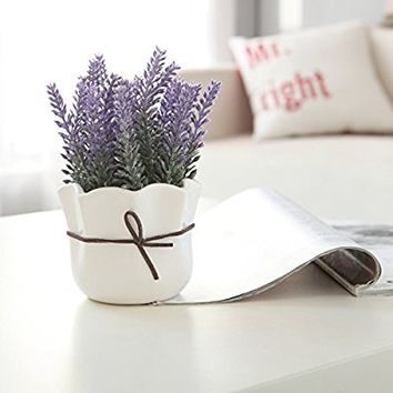 Artificial Lavender w/ White Ceramic Pot / Decorative Faux Flower Planter, 7 Inch