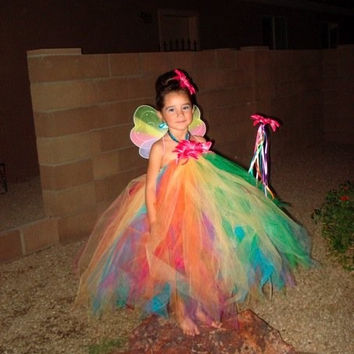 Rainbow Tutu Dress - Girls Sewn Pixie Tutu Dress - Aura Fairy Dress - Custom made, sizes 2T up to 5T, max length 30'' long