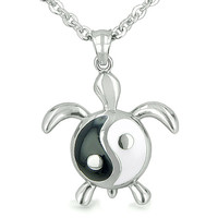 Amulet Turtle Yin Yang Balance Magic Powers Lucky Charm Pendant Necklace Pendant 18 Inch Necklace