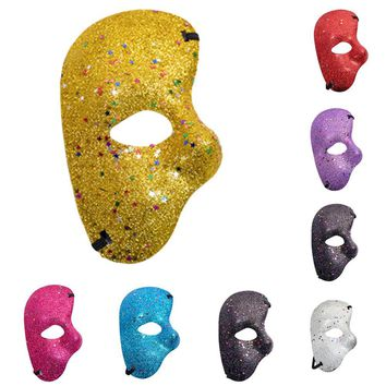 7 Colors The Phantom Of Opera Mask Plastic Glitter Half Mask For Christmas Halloween Party Decor Supplies Cosplay Accessories
