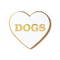 I Heart Dogs Pin - White/Gold