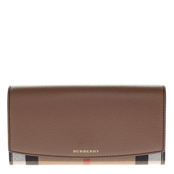 Burberry Women's House Check and Leather Wallet with Chain Brown