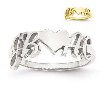 Personalized Couple's Initials And Heart Ring - Sterling Silver or Solid Gold