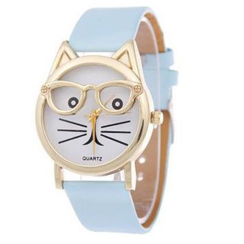 2018 New Fashion watch girl Cute Glasses Cat Women Analog Children Quartz Dial sports Daily School Wrist Watches F80