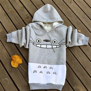 LMFUS4 2016 Hot Spring and Autumn Totoro Sweatshirts Women Hoodies Suit Cartoon Print Patchwork Pullover  with Pockets Gray
