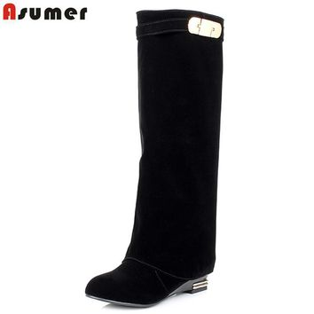 ASUMER New Plus size 34-43 HOT sale brand fashion women motorcycle boots leather wedge