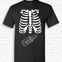 Skeleton Ribcage WHISKY Xray Halloween T-shirt Tshirt Tee Shirt Pregnant Pregnancy Funny Cute Booze Bottle Dad Father Couples Costume TF-170