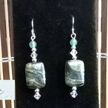 "Earrings: 925 Sterling Silver Ball Hook Earwires , Moss Agate, Aventurine  & Swarovski Elements ""Abundance ""   By ANena Jewelry"