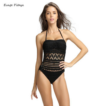 Lace Crochet one piece swimwear large size women bathing suits black and white swimwear for women plavky