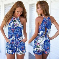 Vakind® Sexy Summer Women Floral Halter Patterned Jumpsuit Playsuit Rompers Shorts