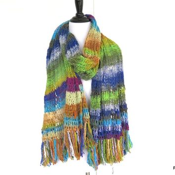 Noro Silk Shawl, Hand Knit Luxury Designer Wrap, Gift for Her
