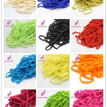 Lucia crafts 2yards/lot 10mm Width Pom Pom Trim Ball Fringe Ribbon DIY Sewing Accessory Lace