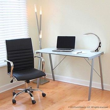 White Office Desk Study Writing Drafting Table Glass Top Modern Dorm Bedroom