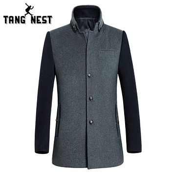 TANGNEST Men Patchwork Overcoat 2017 Stand Collar High Quality Male Wool Coat Fashion Winter Asian Size Coat MWN174