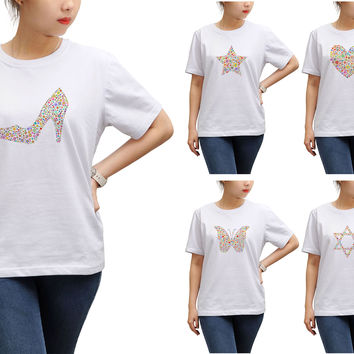 Women Multicolored Icons Printed Short Sleeves T-shirt WTS_17
