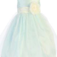 Light Blue Shantung & Tulle Overlay Dress with Ivory Shantung Trim (Baby 6 months - Girls Size 10)