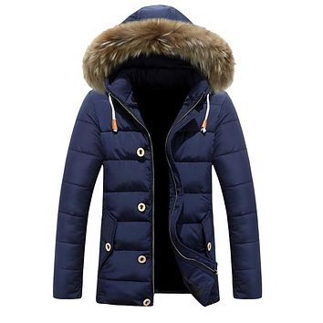 Casual Waterproof Medium Long Thick Warm Fur Collar Black Blue Men Jackets And Coats