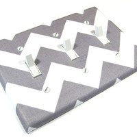 White and Gray Chevron Riley Triple Toggle Light Switch Cover Grey Switchplate Switch Plate