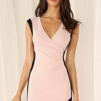 Pink V-Neck Bodycon Chiffon Dress