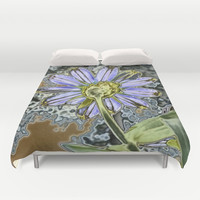 Purple Glow Daisy  Duvet Cover by KCavender Designs