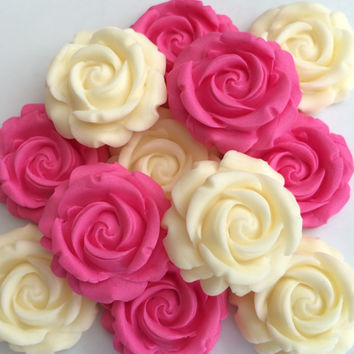 12 PINK & CREAM ROSES edible sugar paste flowers cupcake decorations toppers