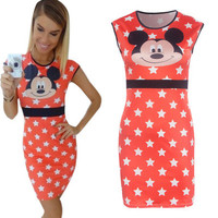 Summer Mickey Mouse Printed Slim One Piece Dress a12314