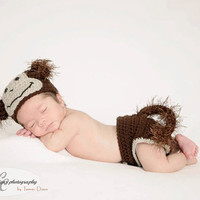 Cochet Monkey Diaper Cover Beanie - Photo Prop 0-3 Month Baby Set