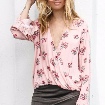 Cheap Thrills Blush Surplice Top