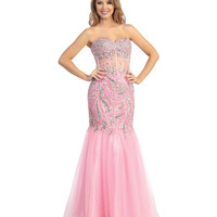 2014 Prom Dresses - Pink Tulle & Illusion Corset Mermaid Gown