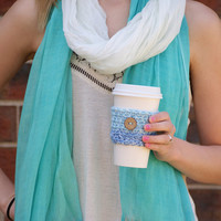 "Crochet Tumbler Cozy / ""Ombre To Dye For"" Cup Sleeve With Coconut Button, For Travel Coffee Cups, Tumblers, and Mason Jars"