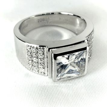 Augustus 2.9CT Square Radiant Crown Cut IOBI Cultured Diamond Men's Ring