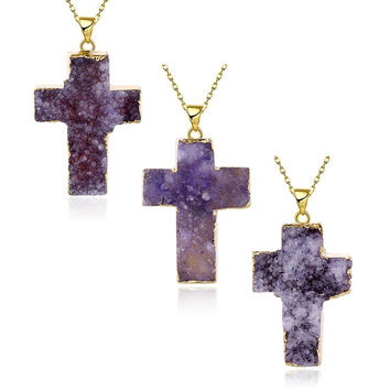 Amethyst Cross Natural Crystal Necklace