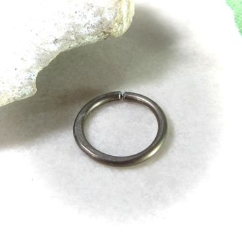 Daith Hoop Earring Bronze Niobium Hammered Endless Single