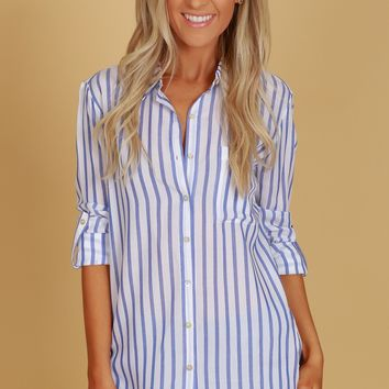 Vertical Striped Button Up Blouse Blue
