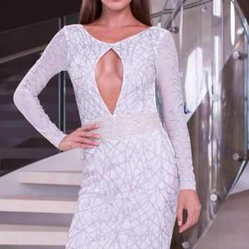 JENNIFER DRESS IN WHITE WITH SILVER - LIMITED EDITION