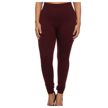 """Your New Favorites! Must Have """"Amazing"""" No Peek-a-Boo See Through PLUS Size Burgundy Leggings"""
