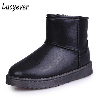 Lucyever Classic Women PU Leather Warm Fur Winter Snow Boots Waterproof Cotton Shoes Woman Slip on Flats Platform Ankle Boots