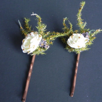 Gorgeous fairy bobby pins, fairy hair clips, woodland fairy hair. Girl's hair clip, woman's hair clip, unique gift!