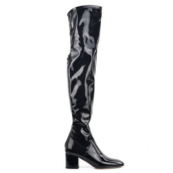 Valentino Women Black Patent Leather Over the Knee High Boots