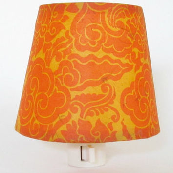 Lemon Yellow Tibetan Paper Night Light with Orange Flower Pattern - Tangerine Master Bedroom Decor -