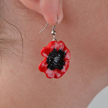 Beautiful handmade designer polymer clay flower earrings Red Poppies