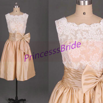 2014 short ivory lace and champage taffeta bridesmaid dresses,cheap cute maid of honor gowns with bow,chic dress for wedding party hot.