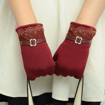 Touch screen gloves lace thickening cycling gloves Wine red