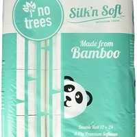 Silk'n Soft Bamboo Tree-Free 3-Ply, Double Roll Toilet Paper 12pk
